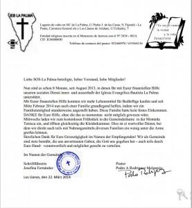 Carta de la Iglesia Eva Bautista