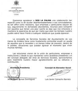 Carta de Los Llanos