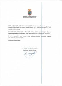 """""""Danke Schön """"-Schreiben des Bürgermeisteramtes von Barovento"""