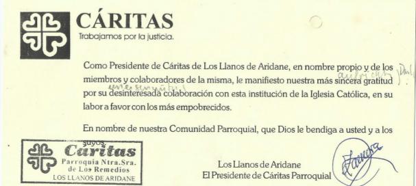 Dank der Caritas Los LLanos 2016